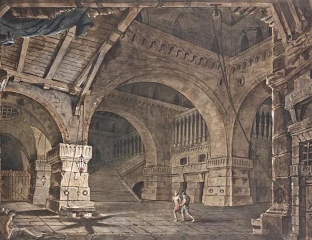 scène avec un prisonnier à lintérieur dun bâtiment by giacomo quarenghi