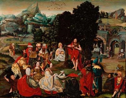 prédication de saint jean baptiste by lucas van leyden