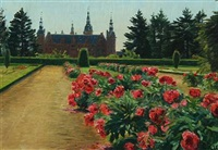 blooming peonys in the park at frederiksborg castle by christian peder mørch zacho