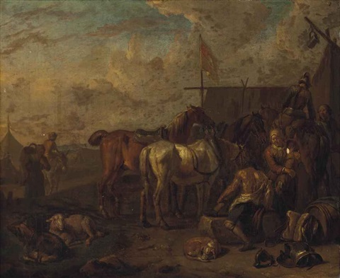 an encampment with soldiers and horses at rest by pieter van bloemen