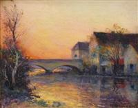 village au bord de la rivière by michel korochansky