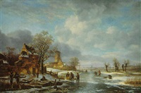 a distant view of rotterdam by anthony jacobus offermans