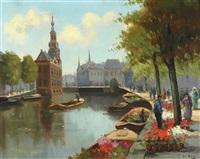 flower market in amsterdam by hendricus johannes van de (henk) ende