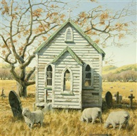 sheep and church by barry ross smith