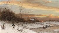 abendrot über einer winterlandschaft by heinrich gogarten