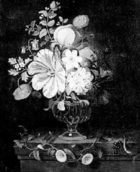 still life of mixed summer flowers in a glass vase on a pedestal by martin van dorne