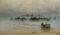 loading fish at low tide, st. ives by william banks fortescue