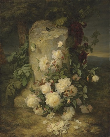 yellow roses by a stone plinth in a landscape by simon saint jean