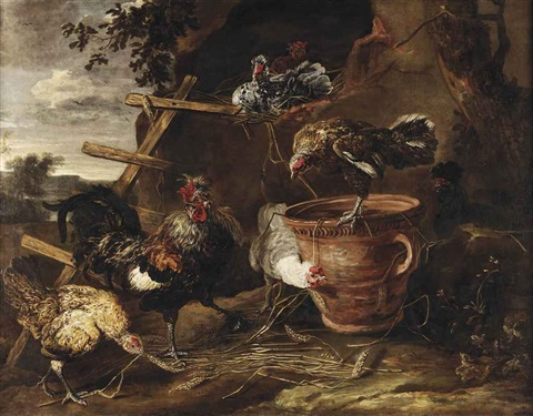 chickens and a cockerel in a farmyard by jan fyt