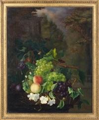 nature morte aux fruits, fleurs et papillons sur fond de colonnade by eugénie mercier