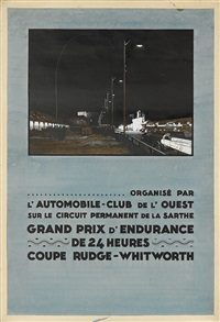 grand prix d'endurance de 24 heures/coupe rudge - whitworth. pencil, watercolor and gouache maquette by h.a. volodimer