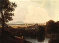 an italianate landscape with figures by a river by agostino aglio