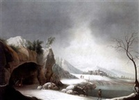 a winter landscape with three men warming themselves beside a fire in a cave and other figures beside a lake by jules cesar denis van loo
