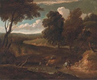 a wooded track with cattle drinking at a river and figures with a dog by peter tillemans