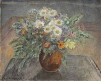 alpine flowers (flowers in a brown vase) by frederick carl frieseke