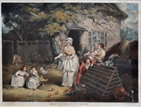 the citizens retreat (after james ward) (+ selling rabbits (after james ward); pair) by william ward