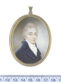 a gentleman, wearing blue coat, white waistcoat and frilled chemise, stock and cravat, his powdered hair tied with black ribbon by nathaniel freese