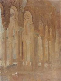colonnade du patio des lions, l'alhambra, grenade by henri regnault