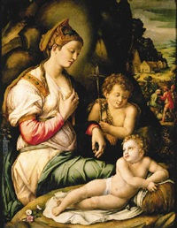 the madonna and child with saint john the baptist seated among rocks, a village beyond with shepherds by bacchiacca