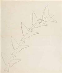 studie - ein kanarienvogel, vom beschauer weg in die dunkelheit fliegend (study) by hans emmenegger