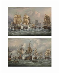 the battle of trafalgar - h.m.s. victory breaking through...(+ h.m.s. victory bringing the body of lord nelson back to gibraltar; pair) by richard b. spencer