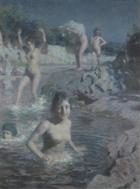 les baigneuses by alphonse etienne dinet