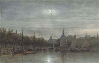 alkmaar - the harbour with the accijnstoren by night by jan geerard smits