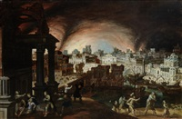 the fall of troy with aeneas carrying anchises from the burning city by frans francken the elder and louis de caullery
