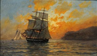 a man o'war brig at sunset by fred pansing