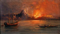 a night view of constantinople on fire, seen from the bosphorus by halil pacha