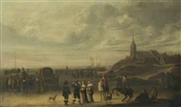 an elegant company and numerous other figures on the beach at scheveningen by cornelis beelt