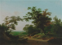 an extensive wooded landscape with travellers resting on a track by marinus adrianus koekkoek the younger