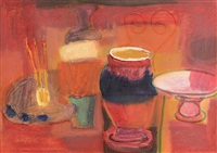 still life, paint brushes and bowls by ian humphreys