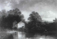 a welsh river landscape with an angler before a millhouse by h. smyth