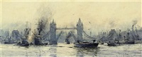 bustling activity below tower bridge by roland langmaid