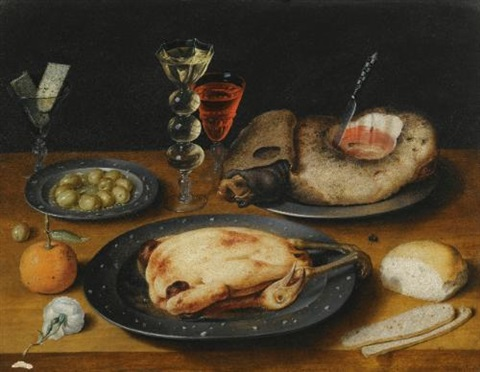 a still life of a roast chicken a ham and olives on pewter plates with a bread roll an orange wineglasses and a rose on a wooden table by osias beert the elder