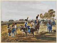 ankunft der nachhut (after wilhelm von kobell) by adam von bartsch