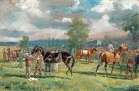 l'entraînement sur l'hippodrome de chantilly by karl andré jean (baron) reille