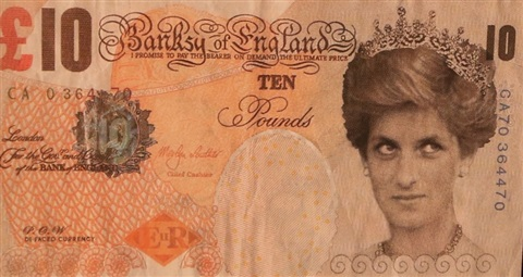 banksy of england, 10 pounds (recto-verso) by banksy