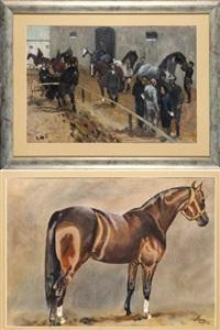 w stadninie (+ koń, verso) by ludwig maciag