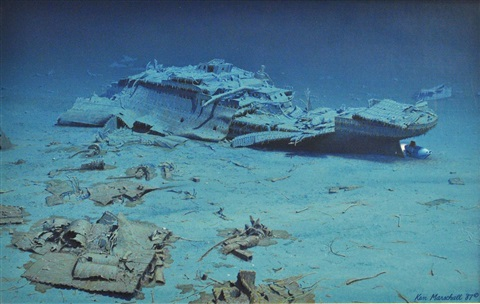 Stern section of titanic on sea floor by ken marschall on for Ocean floor description