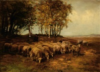 shepherd with his flock of sheep by fedor van kregten
