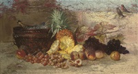 grapes, peaches, a pineapple and champagne by nel (nelius) grönland