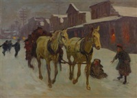 passing through town on a cold winter's night by richard lorenz