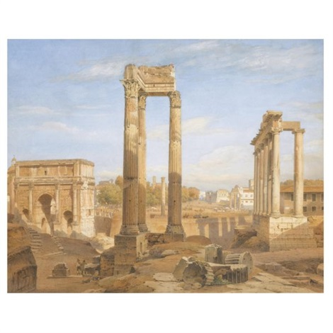 view of the roman forum by salomon corrodi