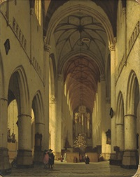 the interior of saint bavo's, haarlem by jan jacob schenkel
