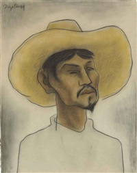 man with hat by diego rivera