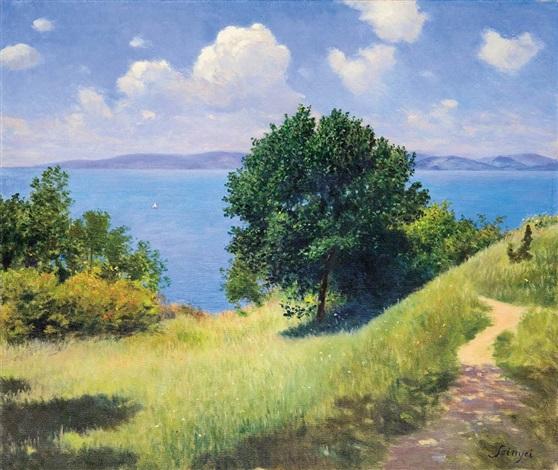 Nice Weather Sunny Weather At Lake Balaton By Pal Szinyei Merse On Artnet