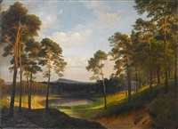 extensive wooded landscape with a lake in the distance by eduard gaertner