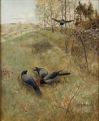 skogslandskap med kråkor by gunnar aberg